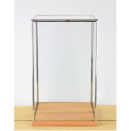 hand-made-glass-and-silver-metal-frame-display-showcase-box-with-wooden-base-42-cm