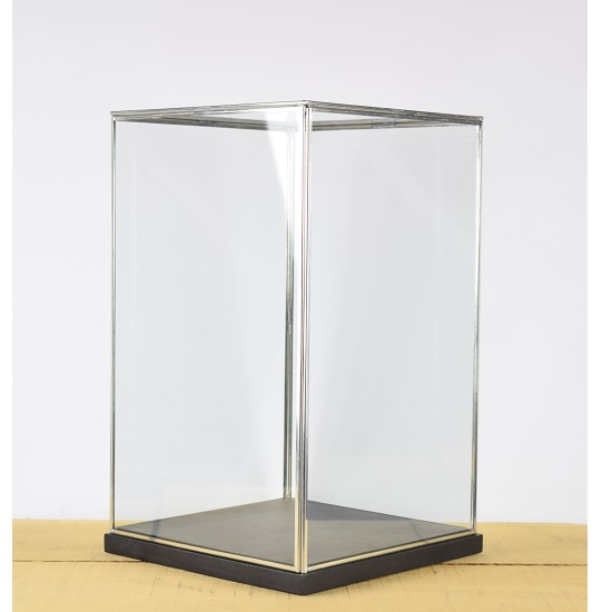 hand-made-glass-and-silver-metal-frame-display-showcase-box-with-black-wooden-base-42-cm