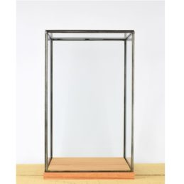hand-made-glass-and-black-metal-frame-display-showcase-box-with-wooden-base-42-cm