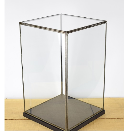 hand-made-glass-and-black-metal-frame-display-showcase-box-with-black-wooden-base-42-cm