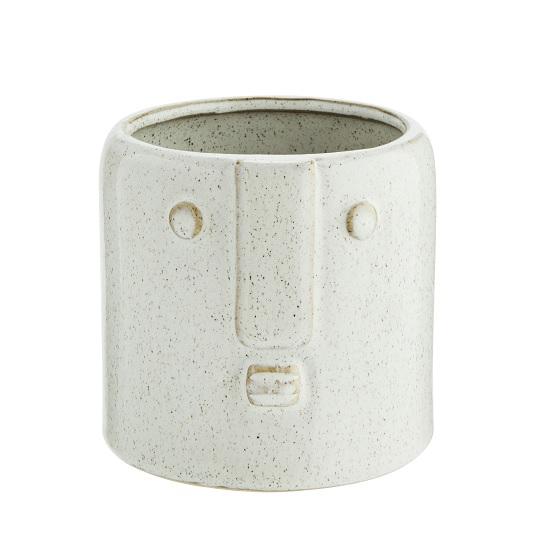 White Stoneware Flower Pot With Face Imprint by Madam Stoltz
