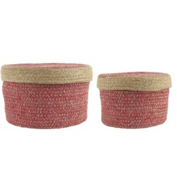 set-of-2-sea-grass-basket-with-lid-red-by-ib-laursen