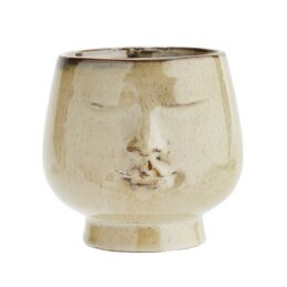 brown-stoneware-flower-pot-with-face-imprint-medium-by-madam-stoltz
