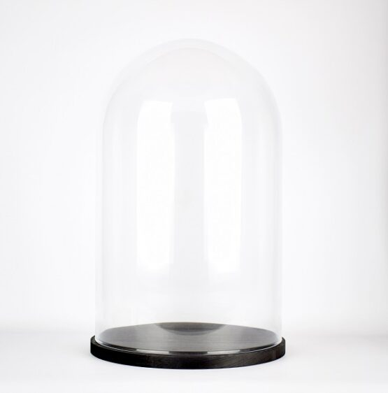 handmade-mouth-blown-clear-circular-glass-display-cloche-bell-jar-dome-with-black-base-40-cm