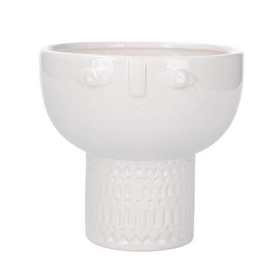 white-ceramic-flower-pot-with-face-imprint-by-gisela-graham