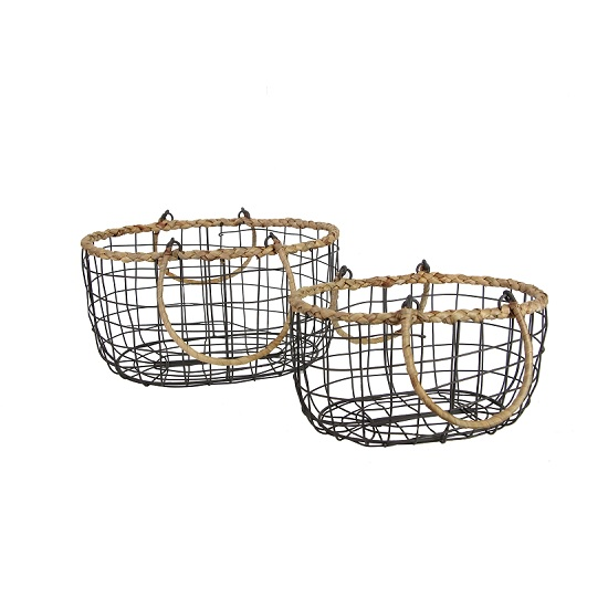 set-of-2-oval-wire-basket-with-handles-and-rope-trim-by-gisela-graham