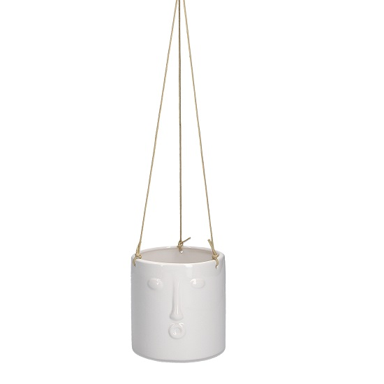 white-ceramic-hanging-flower-pot-with-face-imprint-and-rope-by-gisela-graham