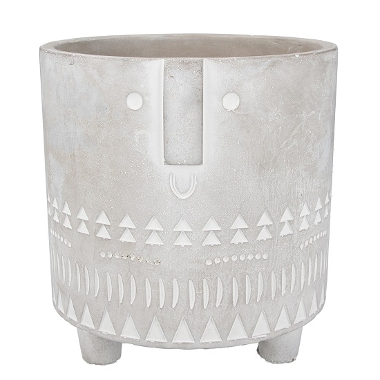 grey-and-white-concrete-flower-pot-with-face-imprint-by-gisela-graham