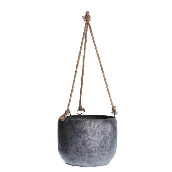 galvanized-hanging-round-planter-with-rope-for-flowers-by-gisela-graham