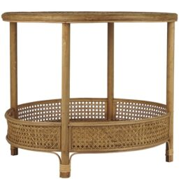 large-round-rattan-table-with-1-shelf-by-ib-laursen