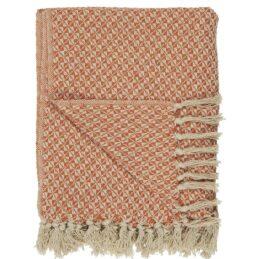100-cotton-blanket-throw-cream-with-orange-pattern-by-ib-laursen