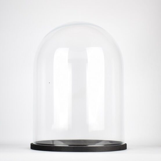 Handmade Clear Circular Large Glass Display Cloche Dome with Black Wooden Base 41.5 cm