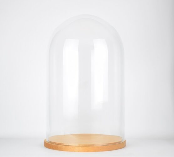 Large Handmade Mouth Blown Glass Dome with Natural Wooden Base 52x31 cm