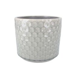 grey-honeycomb-ceramic-pot-cover-large-by-gisela-graham