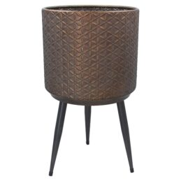 large-antique-gold-metal-galvanized-pot-with-stand-by-gisela-graham