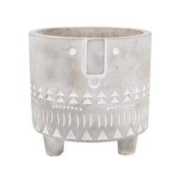 grey-and-white-concrete-small-flower-pot-with-face-imprint-by-gisela-graham