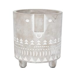 grey-and-white-concrete-medium-flower-pot-with-face-imprint-by-gisela-graham