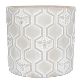 stone-effect-bee-flower-pot-cover-large-by-gisela-graham