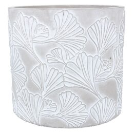stone-effect-ginkgo-print-flower-pot-cover-large-by-gisela-graham