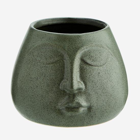 medium-green-stoneware-flower-pot-with-face-imprint-by-madam-stoltz