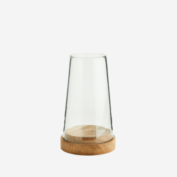 glass-cone-hurricane-candle-holder-with-open-top-mango-wood-base-by-madam-stoltz