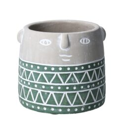 grey-and-green-concrete-small-flower-pot-with-face-imprint-by-gisela-graham