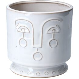 ceramic-medium-white-flower-pot-with-face-imprint-by-gisela-graham