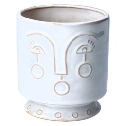 ceramic-small-white-flower-pot-with-face-imprint-by-gisela-graham