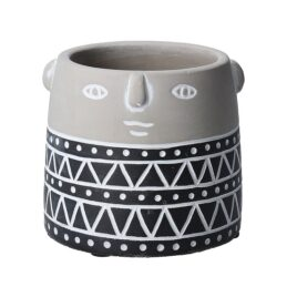 grey-and-black-concrete-small-flower-pot-with-face-imprint-by-gisela-graham
