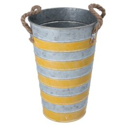 tin-flower-pot-slim-bucket-vase-tall-25-cm-with-handles-by-gisela-graham