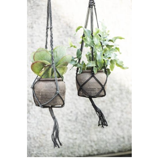 black-handcrafted-braided-jute-plant-rope-holder-with-beads-by-ib-laursen