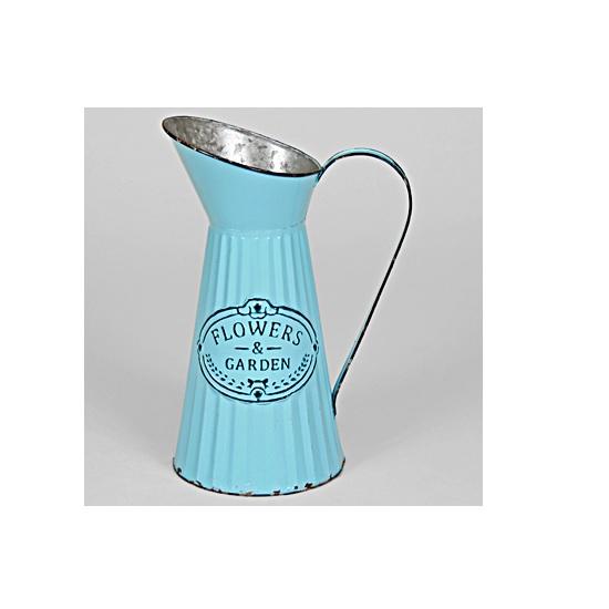 large-blue-ribbed-vintage-metal-pitcher-jug-35-cm-by-originals