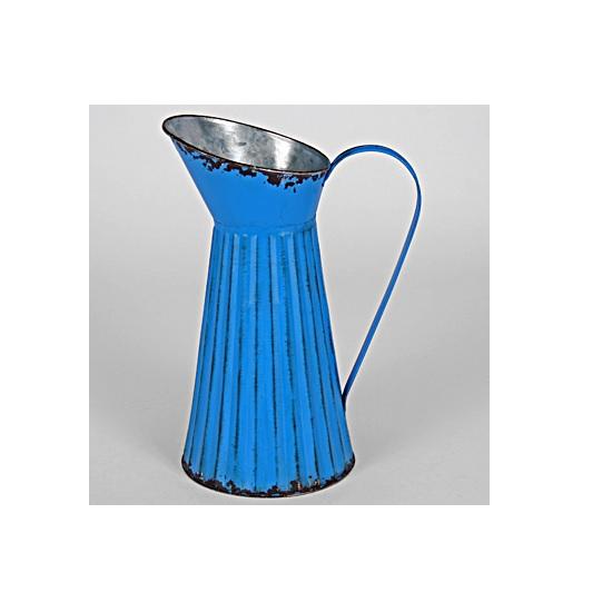 large-ribbed-vintage-metal-pitcher-jug-35-cm-by-originals
